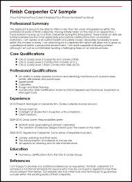 Areas Of Expertise Resume Areas by Finish Carpenter Cv Sample Myperfectcv