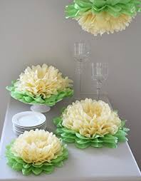 decorations set of 7 yellow tissue paper