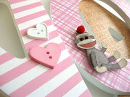 Sock Monkey Baby Bedding Wooden Wall Nursery Letters For Girls Pink And Brown Sock