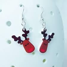 christmas earrings rudolph the reindeer christmas earrings by hoobynoo