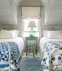 Vaulted Ceiling Bedroom Design Ideas White Metal Bed Frames Using Vaulted Ceiling Design With Blue