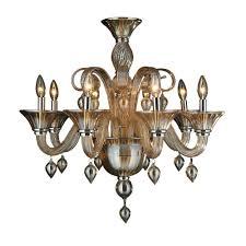 Murano Blown Glass Chandelier Worldwide Lighting Murano Venetian Style 8 Light Amber Orange