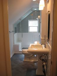 bathroom narrow attic bathroom with white sink and toilet design