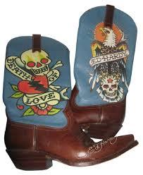 ed hardy blue tattoo western cowboy cowgirl skulls halloween boots