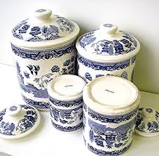 vintage blue willow china canister set blue and white ironstone
