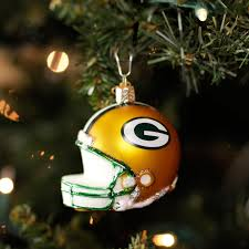 green bay packers blown glass helmet ornament at the packers pro shop