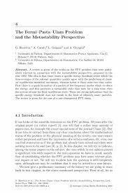 the fermi u2014pasta u2014ulam problem and the metastability perspective