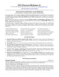 equity research resume sample factory resume resume for your job application plant manager resume business operations manager resume examples of operations and plant manager resume cw mcgowen