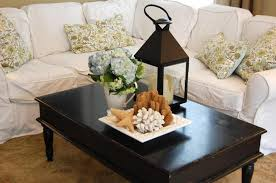 Living Room Table Decoration Furniture Rustic Black Wood Coffee Table With Candle Lantern And