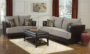 two tone contemporary living room w soft honey fabric seats