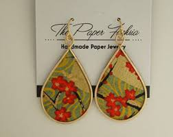 handmade paper earrings paper jewelry etsy