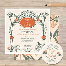 art nouveau wedding stationery by pepper u0026 joy