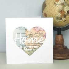 home is where my is vintage map personalised card ideal for