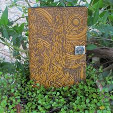 gogh sky with cypress trees refillable leather journal http