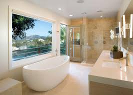 bathroom airy modern bathroom with porcelain freestanding tub