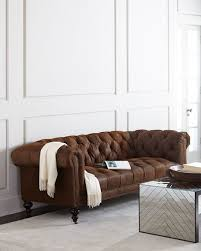 Old Hickory Tannery Chaise Old Hickory Tannery Morgan Rustic Suede Chesterfield Sofa