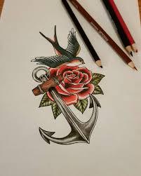anchor roses tattoos on instagram