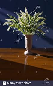vase of dried flowers on table in sunny room stock photo royalty