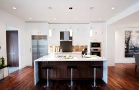 modern kitchen design with island and dining shelf