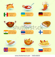 cuisine decorative food international cuisine dishes decorative icons set with