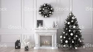 classic living room with fireplace christmas tree and decors