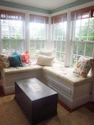 decorating ideas corner bay window decor and white l shaped corner bay window decor and white l shaped storage bench also wood with cream fabric plus rectangle black wooden table on beige rug