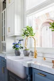Antique Brass Display Cabinet Blue Cabinets With Antique Brass Gooseneck Faucet Transitional