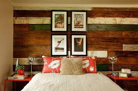 bedroom modern bedroom with reclaimed wood wall also gray bed