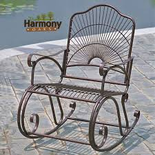 Outdoor Wrought Iron Patio Furniture by Rocking Chair Design Wrought Iron Rocking Chair Harmony Oaks