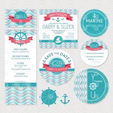 Invitation With Rsvp Card Set Of Marine Wedding Cards Invitations Menu And Rsvp Cards