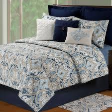Navy Blue Coverlet Queen Nazima Ogee Paisley Quilt Bedding