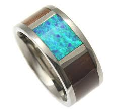 blue titanium wedding band cleon titanium wedding band with genuine koa wood blue green