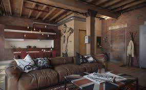 industrial living room with exposed brick loft and interesting