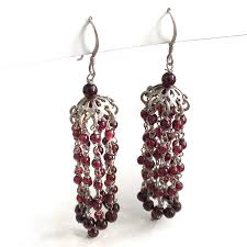 Garnet Chandelier Earrings Garnet Tassel Chandelier Earrings
