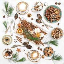 christmas cookies coffee festive table decoration flat lay stock