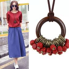 long red pendant necklace images Vintage long rope wood circle pendant necklace jpg