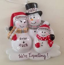 personalized ornament snowman family with one