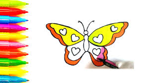 colours for kids how to draw and colour a butterfly colouring