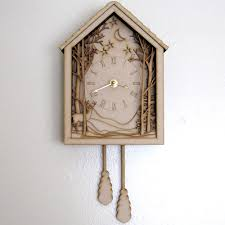 Cuckoo Clock Kit Cuckoo Clock Winter Midnight Forest Diorama Laser Cut Wood Wall