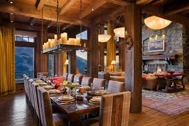 Long Dining Room Chandeliers Quiet Waters Residence Rustic Dining Room Other By Locati