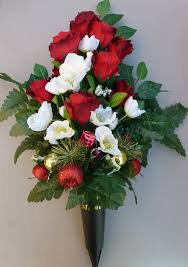 Memorial Vases For Graves Uk Memorial Grave Spike Vase With Christmas Roses Artificial Flower