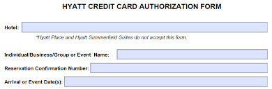 download hyatt credit card authorization form template pdf