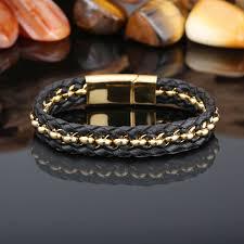 bracelet gold leather man images Attractive black and gold bracelet bracelet design for you jpg