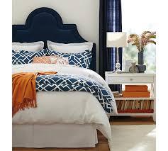 orange and blue bedroom navy upholstered headboard bedrooms pinterest navy headboard