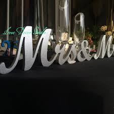 mr mrs sign for wedding table wedding signs mr mrs silver wooden letters for wedding table