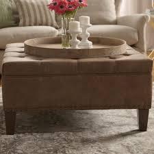 Leather Storage Ottoman Coffee Table Coffee Table Marvelous Round Leather Storage Ottoman Tufted