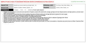 Public Health Resumes Public Health Engineer Resume Sample