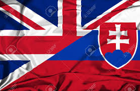 Slovak Flag Waving Flag Of Slovakia And Uk Stock Photo Picture And Royalty