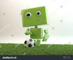 green android on grass field plays stock illustration 119129896