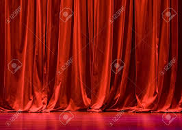 red velvet stage curtains with stage floor stock photo picture